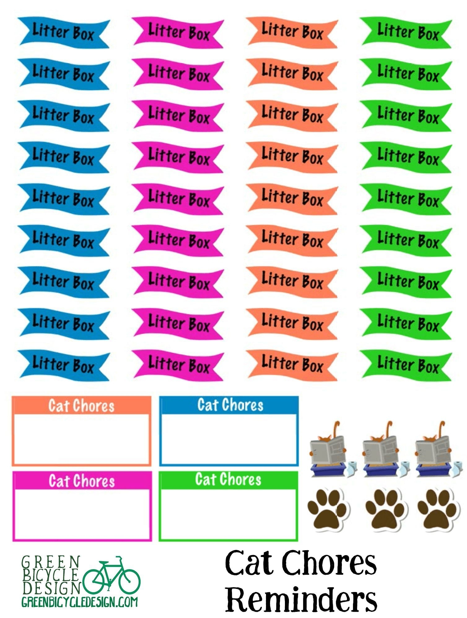 Cat Care Calendar Reminder Planning Stickers | Stickers For