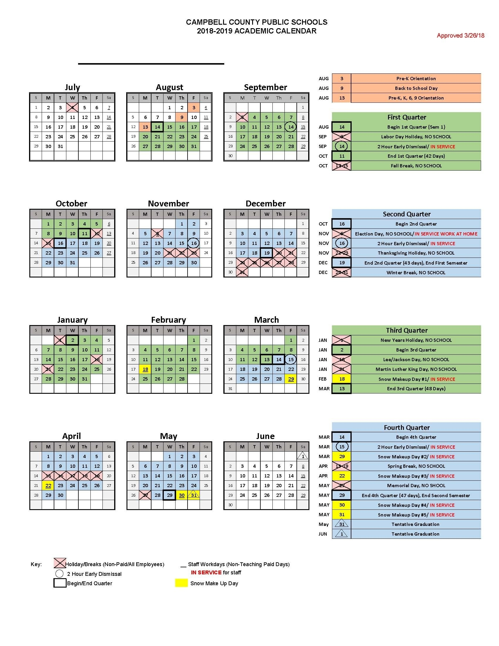 Ccps 2018-2019 Calendar - Campbell County Public Schools
