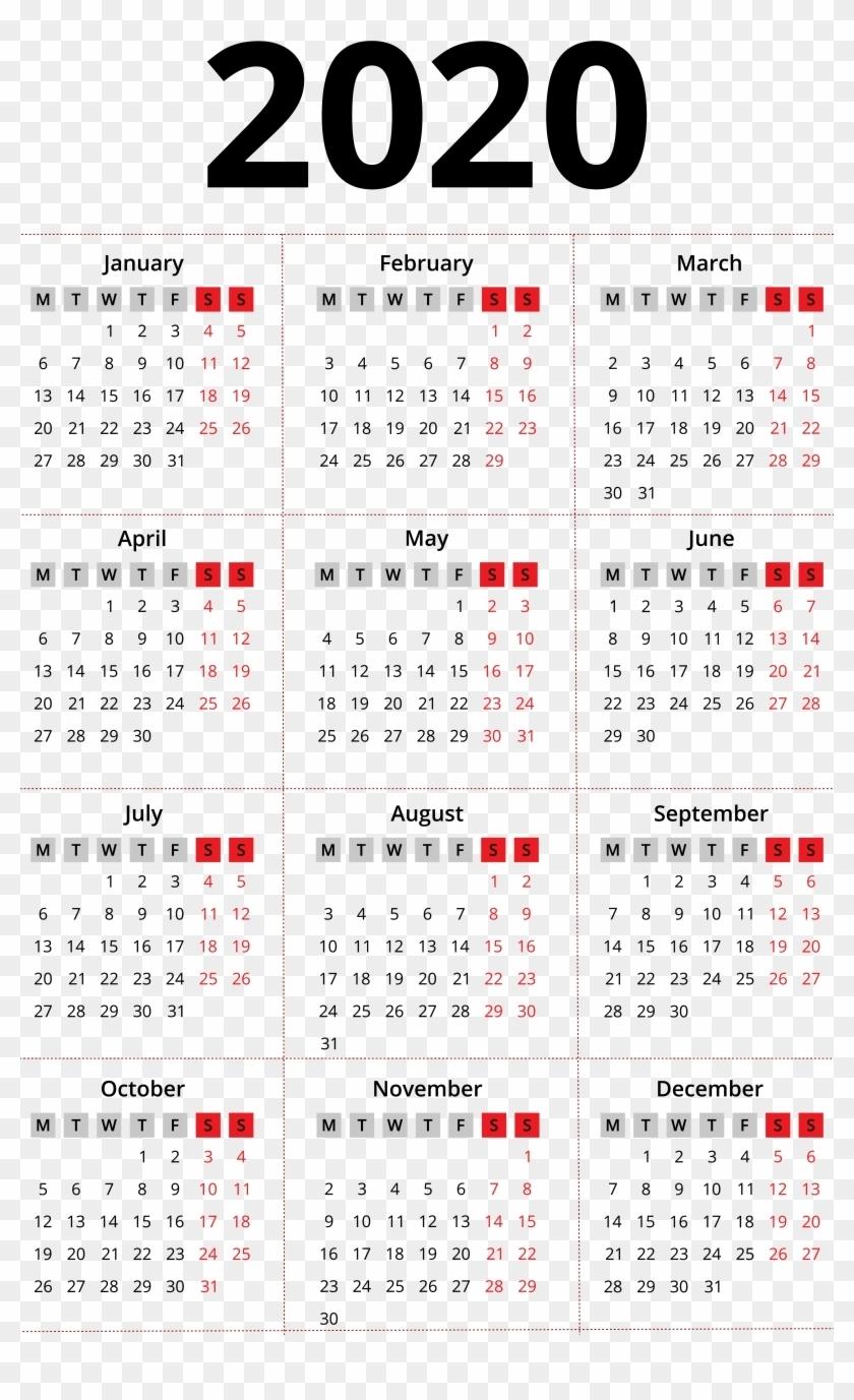 Chinese Lunar Calendar 2020 Printable Template