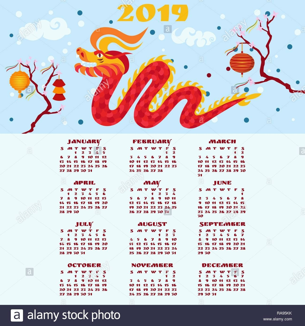 Chinese New Year 2019 Calendar. Red Dragon Grinning. Cherry