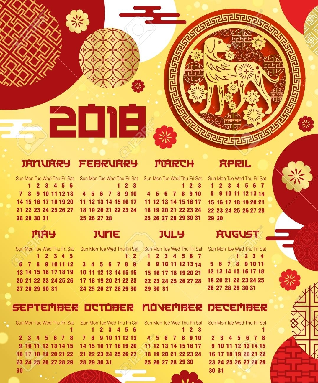Chinese New Year Calendar Template With Zodiac Dog