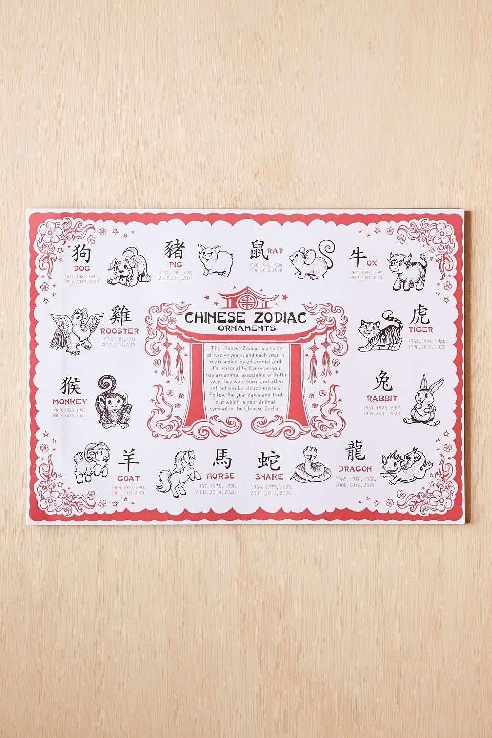 Chinese Zodiac Calendar Placemat • Printable Blank Calendar
