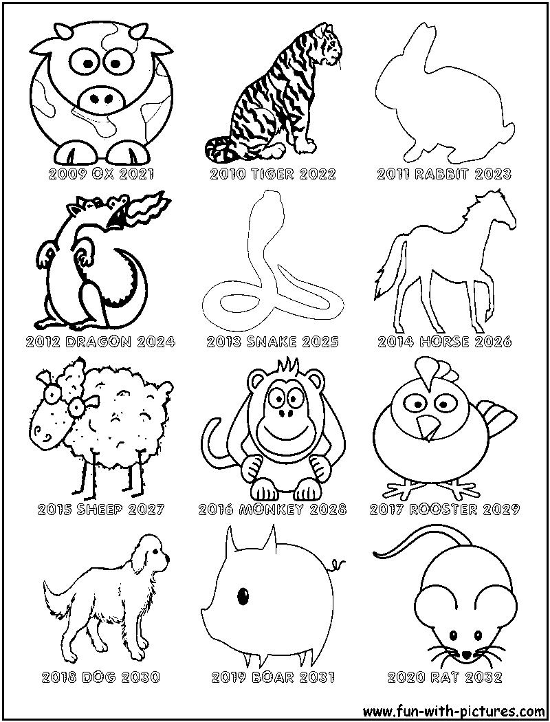 Chinese Zodiac Coloring Sheet   Chinese New Year Zodiac, New