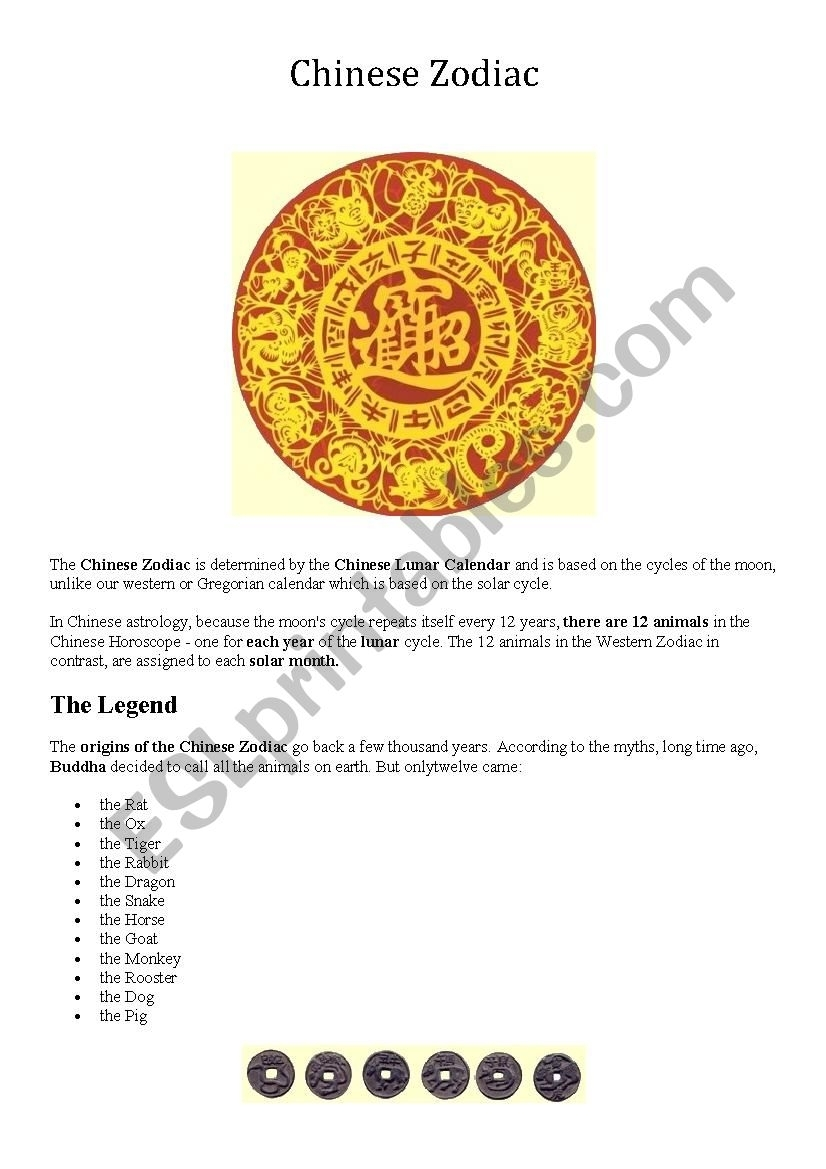 Chinese Zodiac - Esl Worksheetruichan