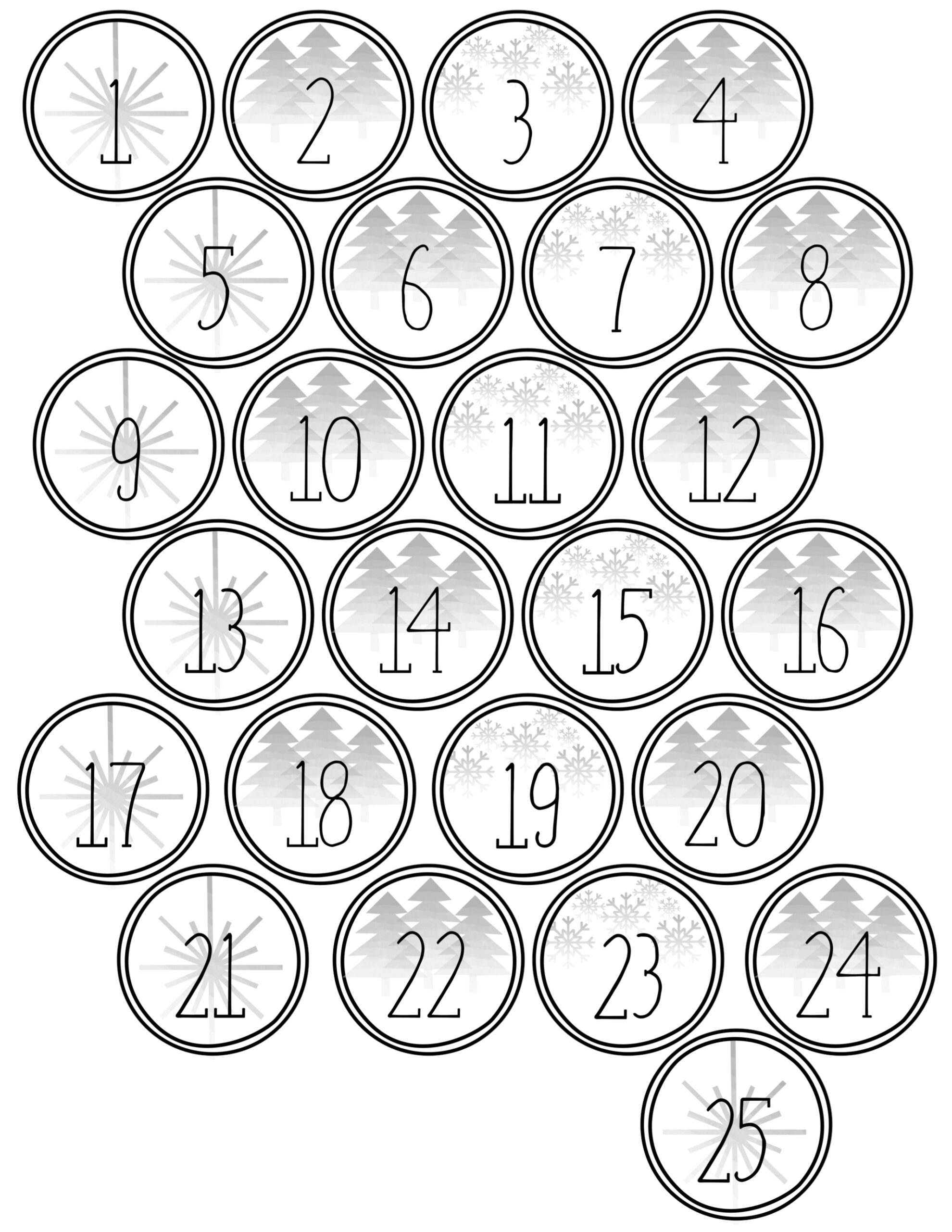 Christmas Advent Calendar Printable Numbers - Paper Trail Design