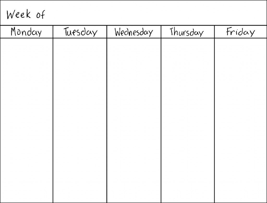 Collect 5 Day Blank Calendar 2019 ⋆ The Best Printable