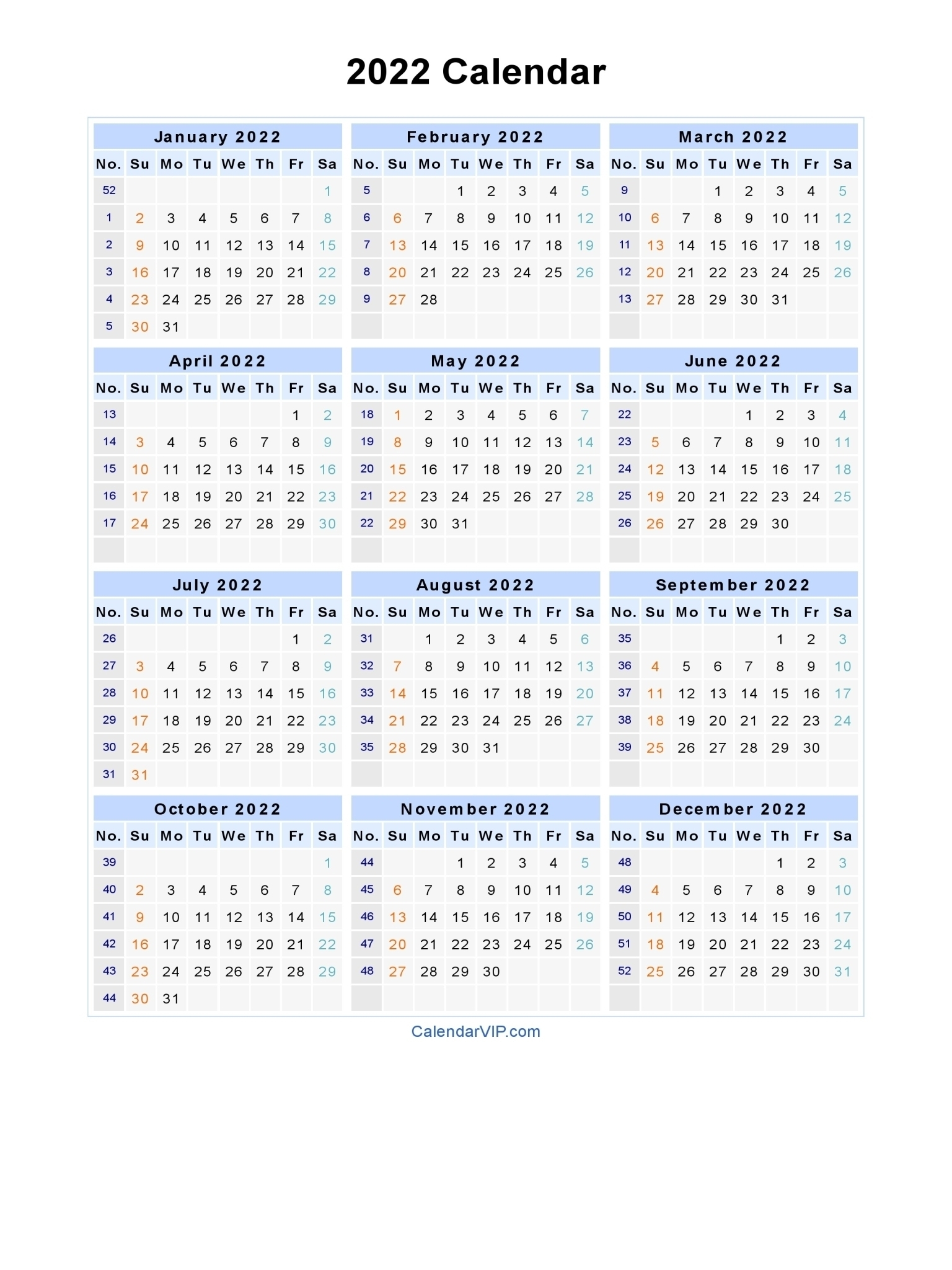 Collect Blank Year Long Calendar 2022 ⋆ The Best Printable