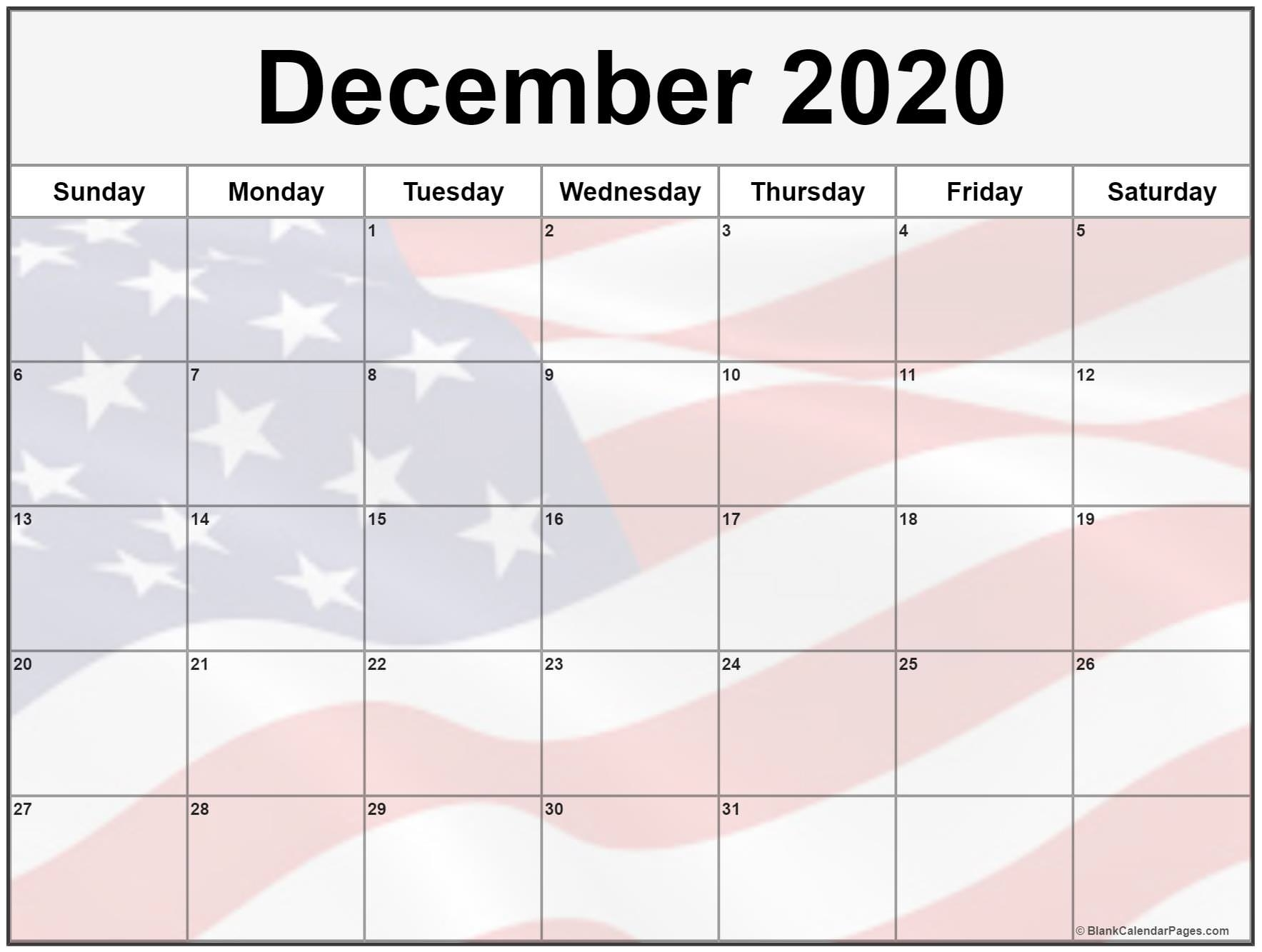 Collection Of December 2020 Photo Calendars With Image Filters.