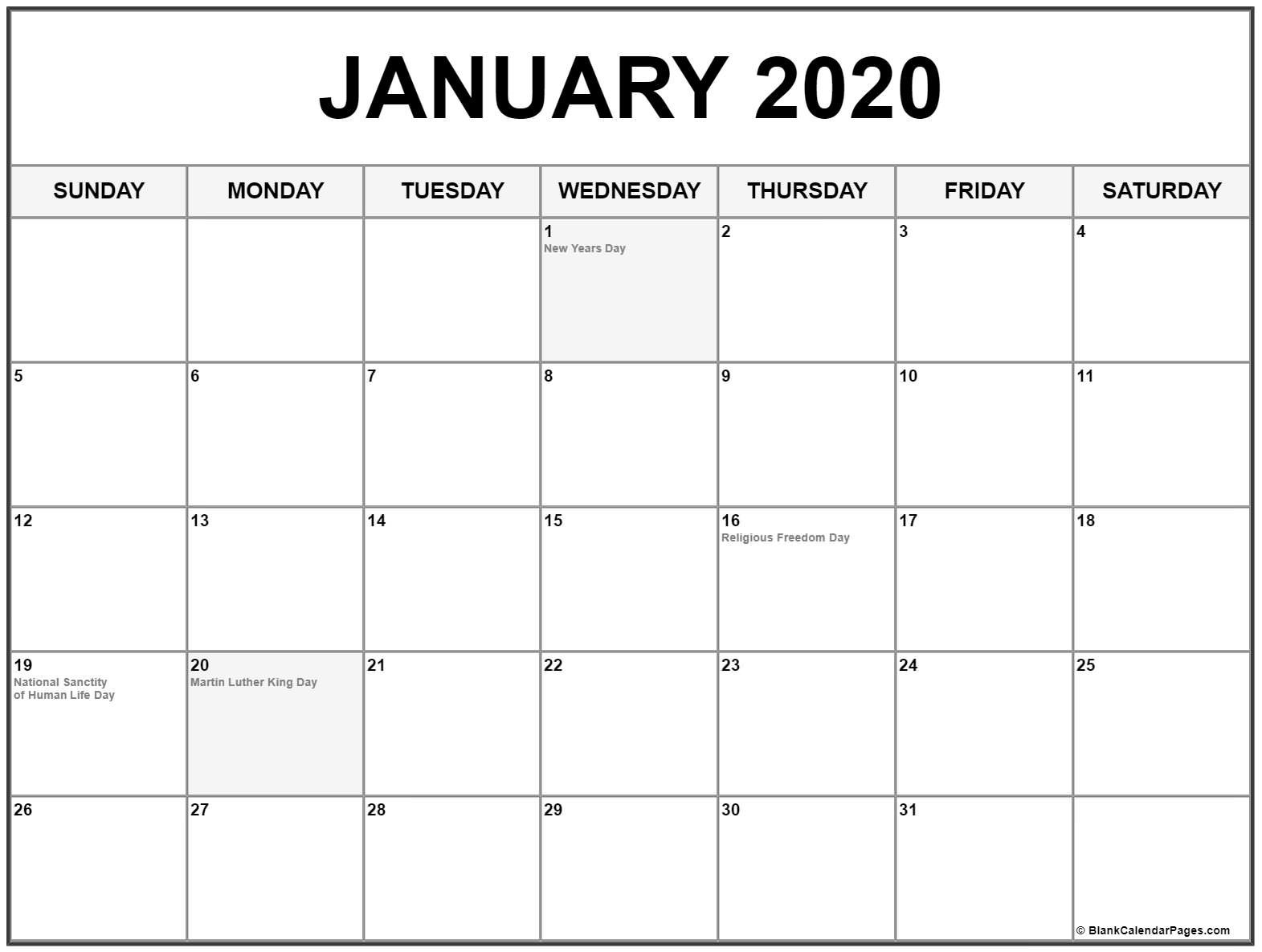 Collection Of January 2020 Calendars With Holidays