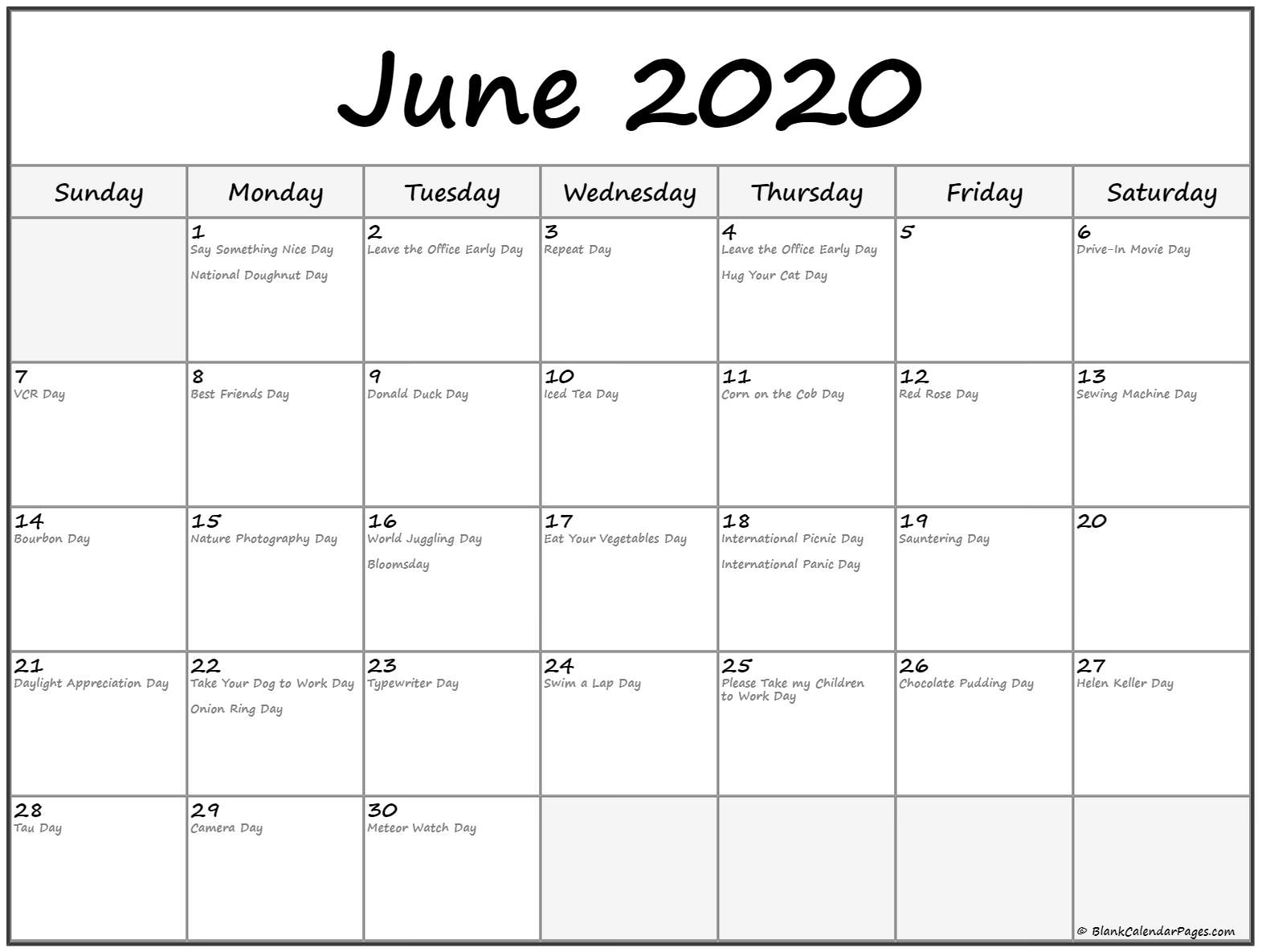 Collection Of June 2020 Calendars With Holidays
