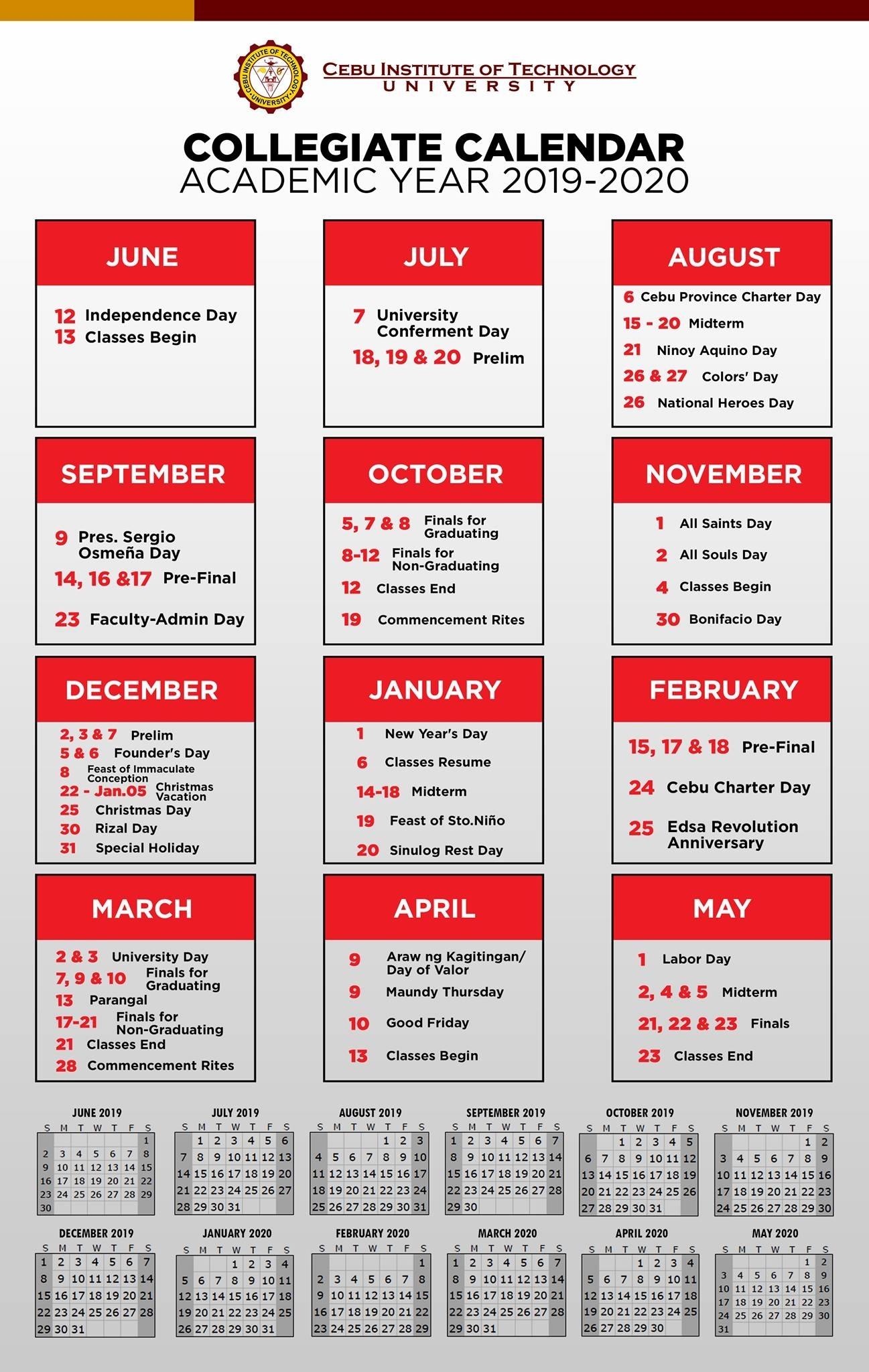 Collegiate Calendar For The Academic Year 2019 – 2020 | Cebu
