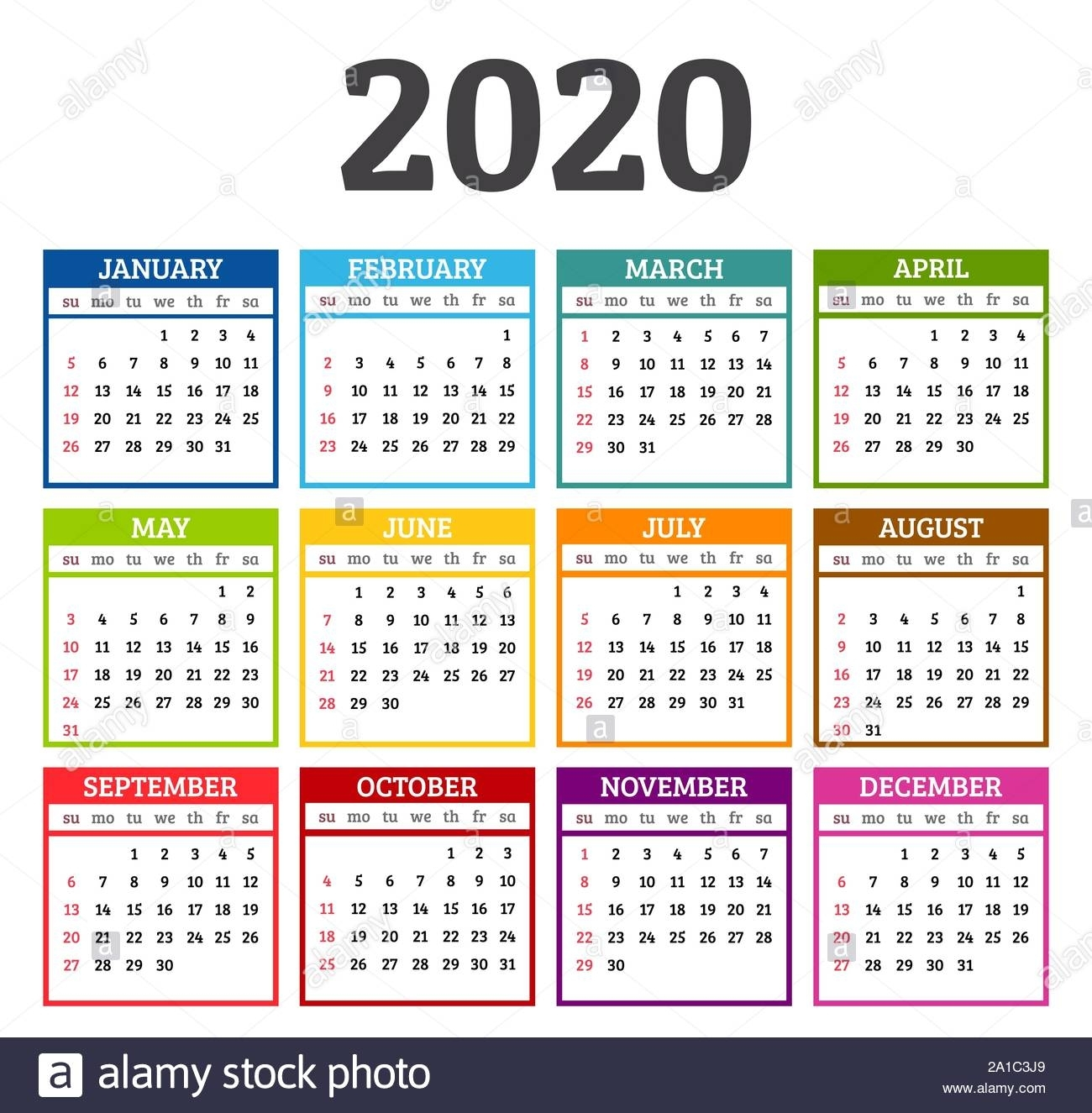 Colorful Calendar 2020 Year. Week Starts From Sunday. Vector