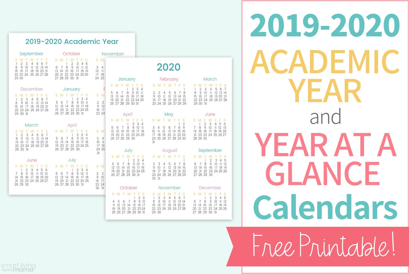 Colorful Printable Calendars For 2019-2020 | Smart Living Mama