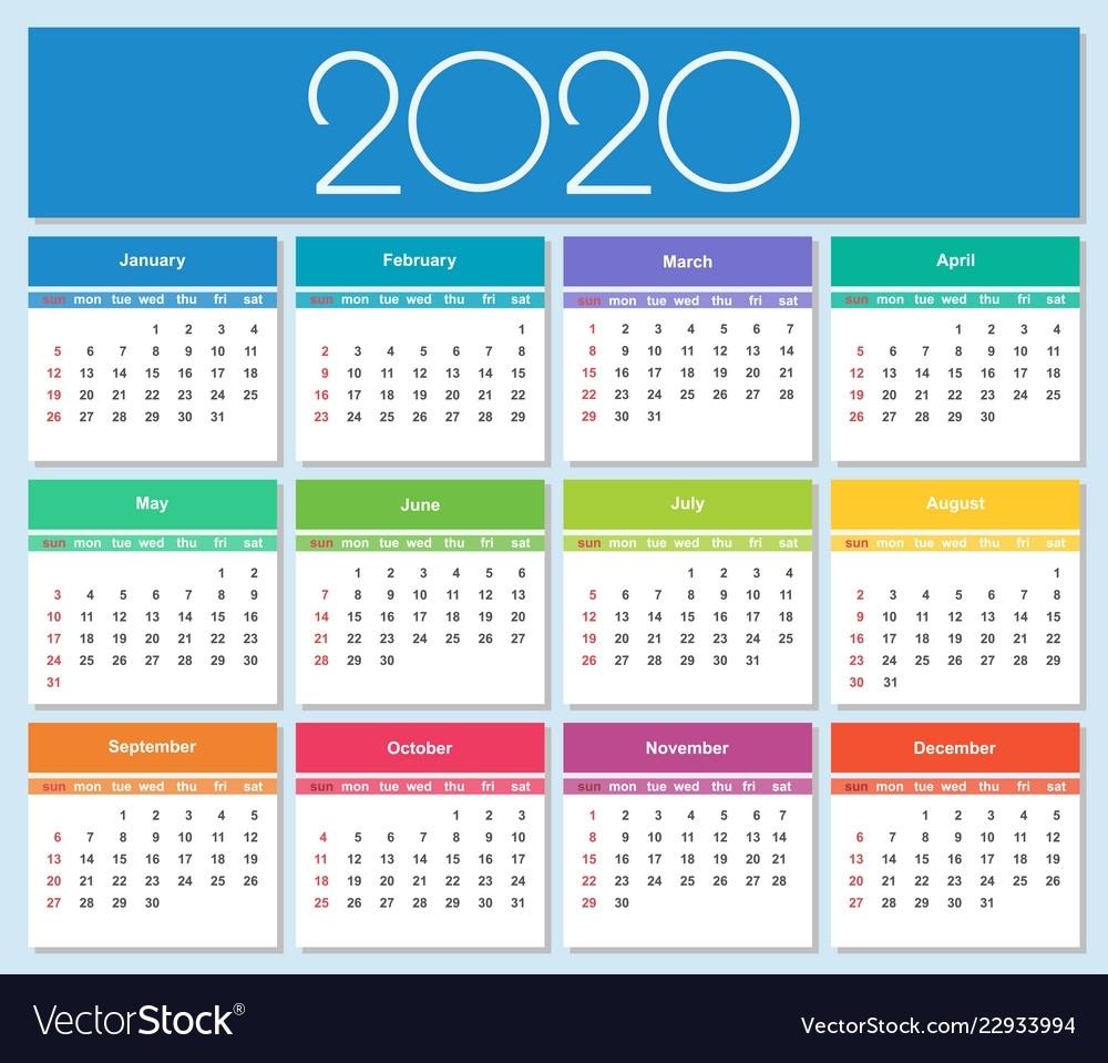 Colorful Year 2020 Calendar