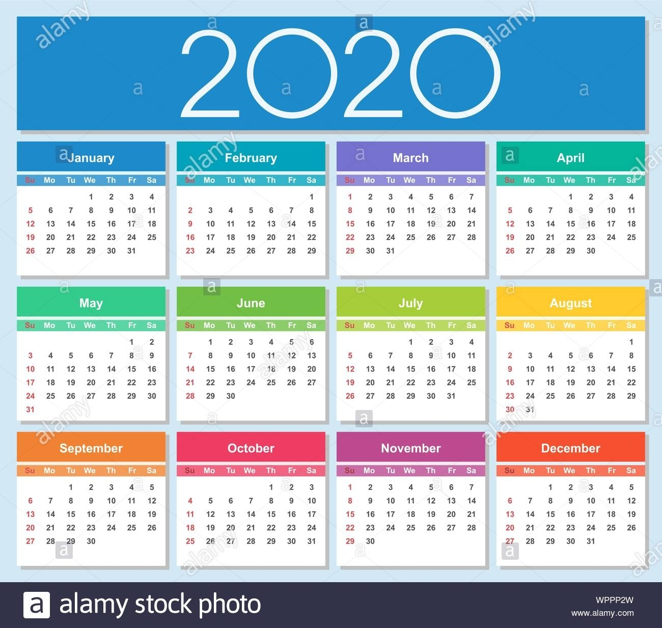 Colorful Year 2020 Calendar. Week Starts On Sunday. Isolated