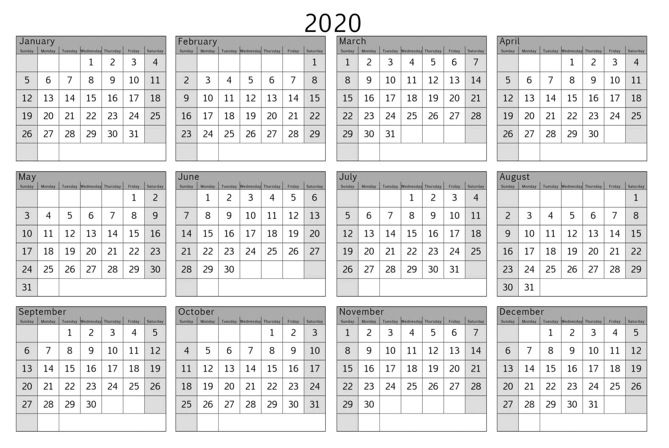 Colorful Yearly Calendar Template With Notes 2020 Word - Set