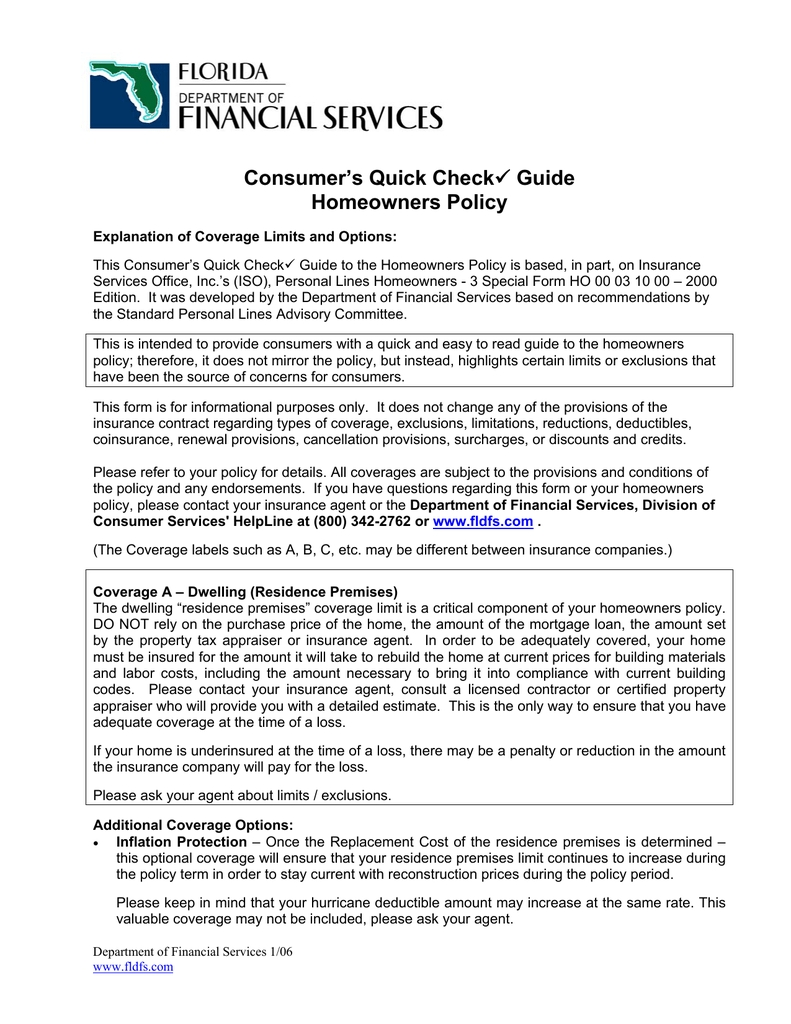 Consumer's Quick Check Homeowners Policy Guide