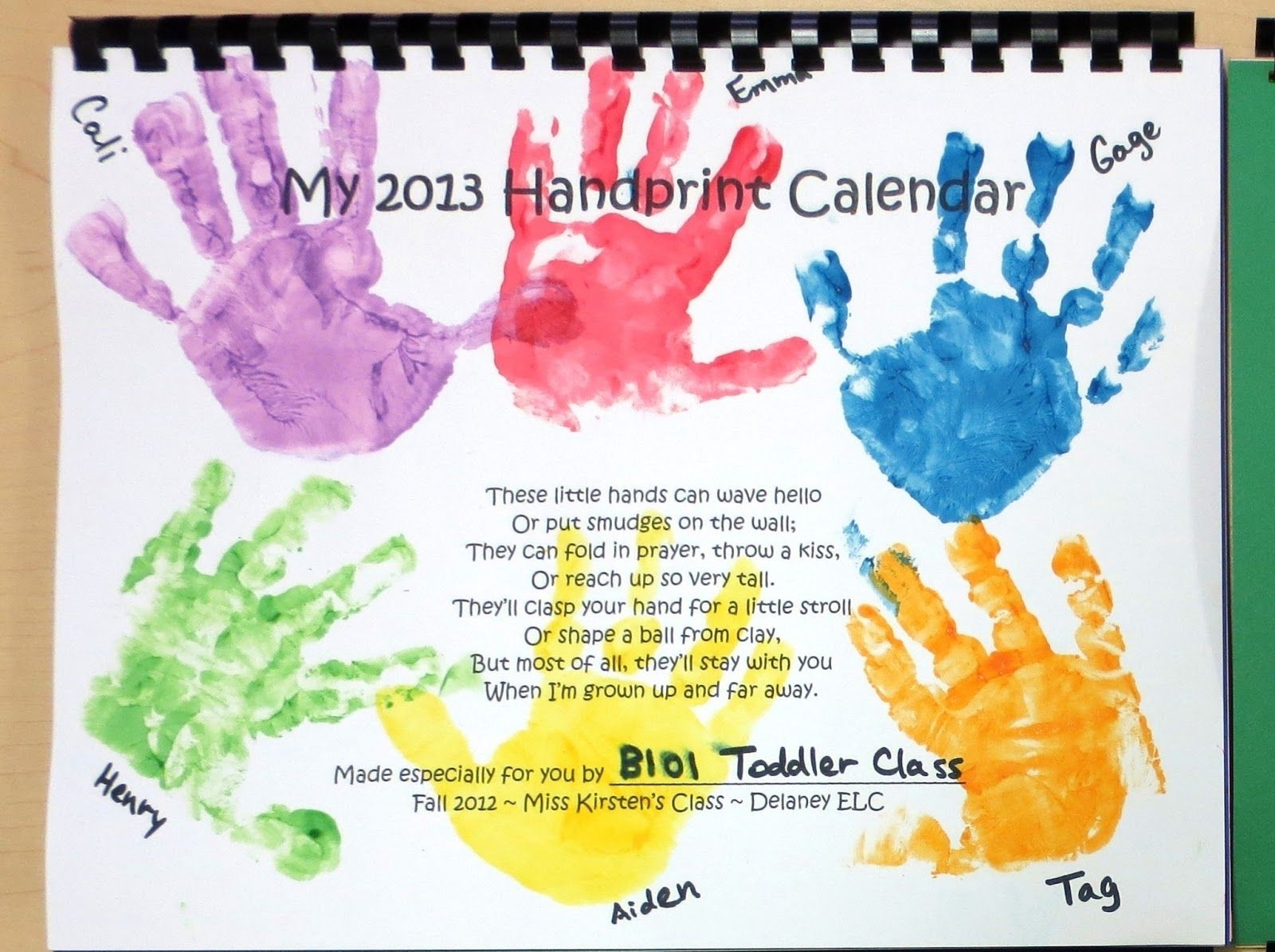 Cover Page | Handprint Calendar Preschool, Calendar Ideas