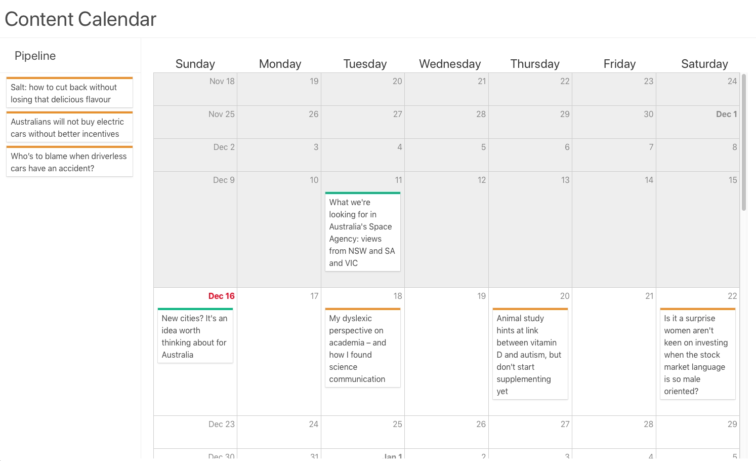 Creating A Content Calendar For Your Contentful Content