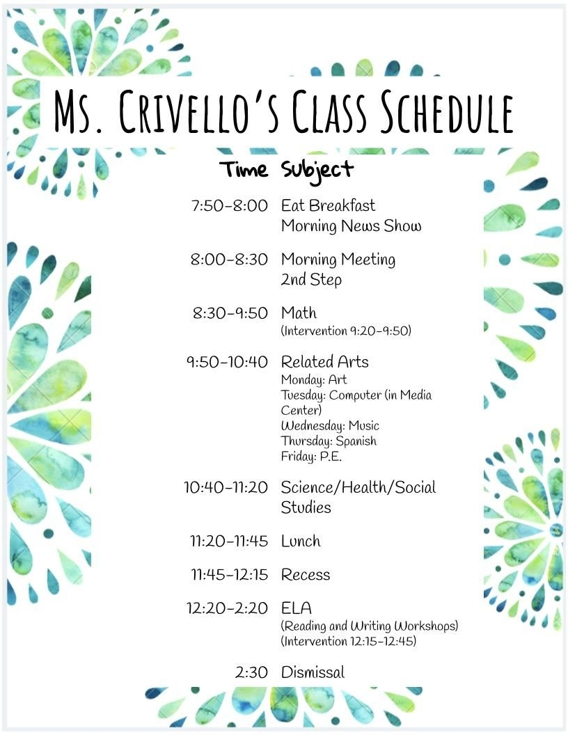 Crivello, Stephanie / Class Schedule