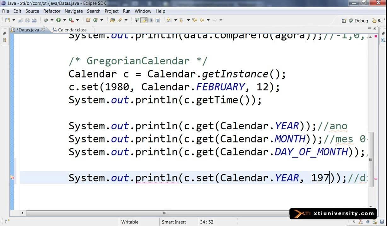 Curso De Java - Jse - 069 - Date, Calendar, Get, Set, Clear
