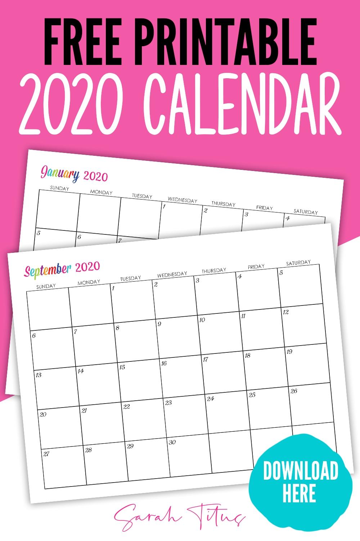 Custom Editable 2020 Free Printable Calendars | Calendar