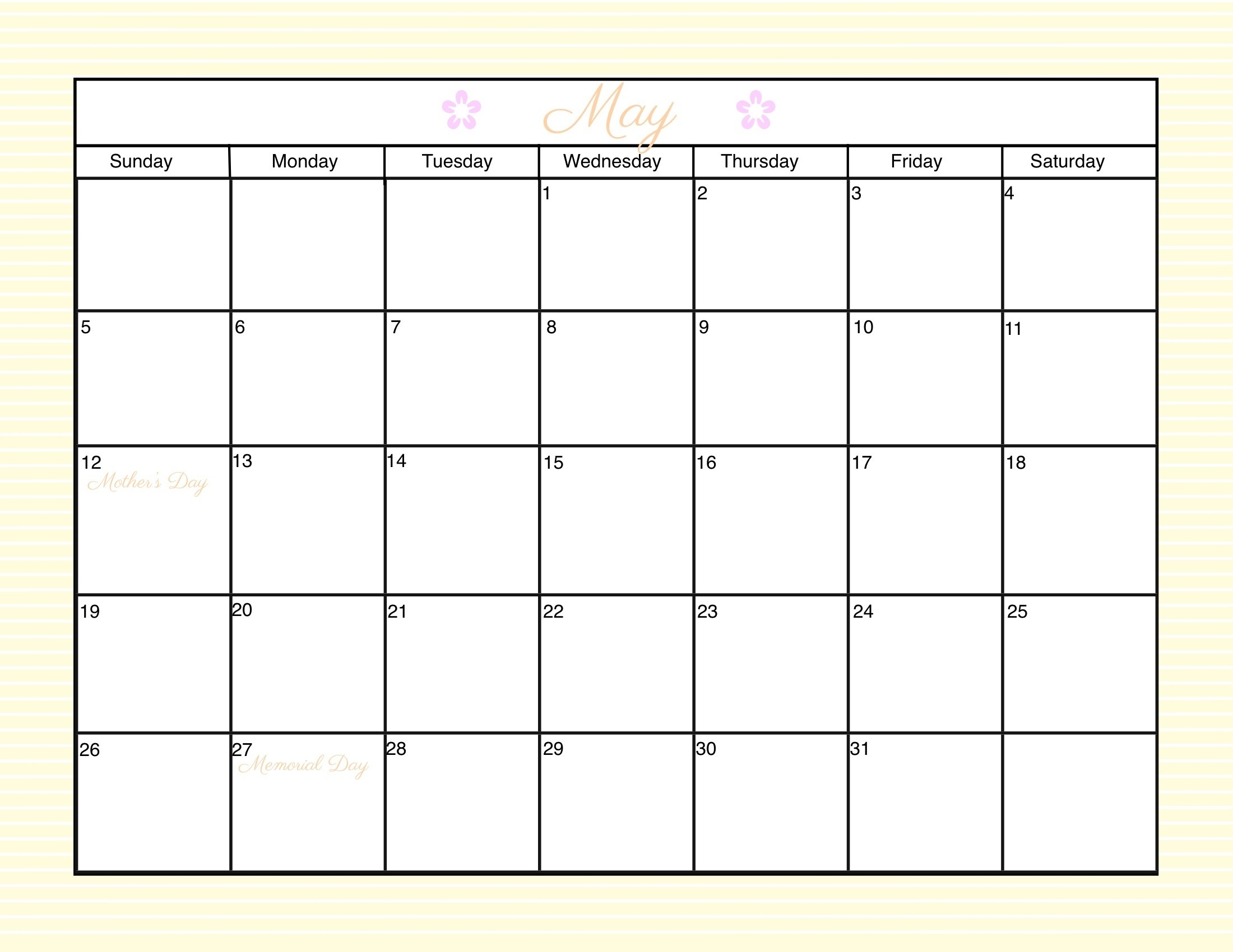 Customizable Printable Calendar 2016 Customizable Monthly