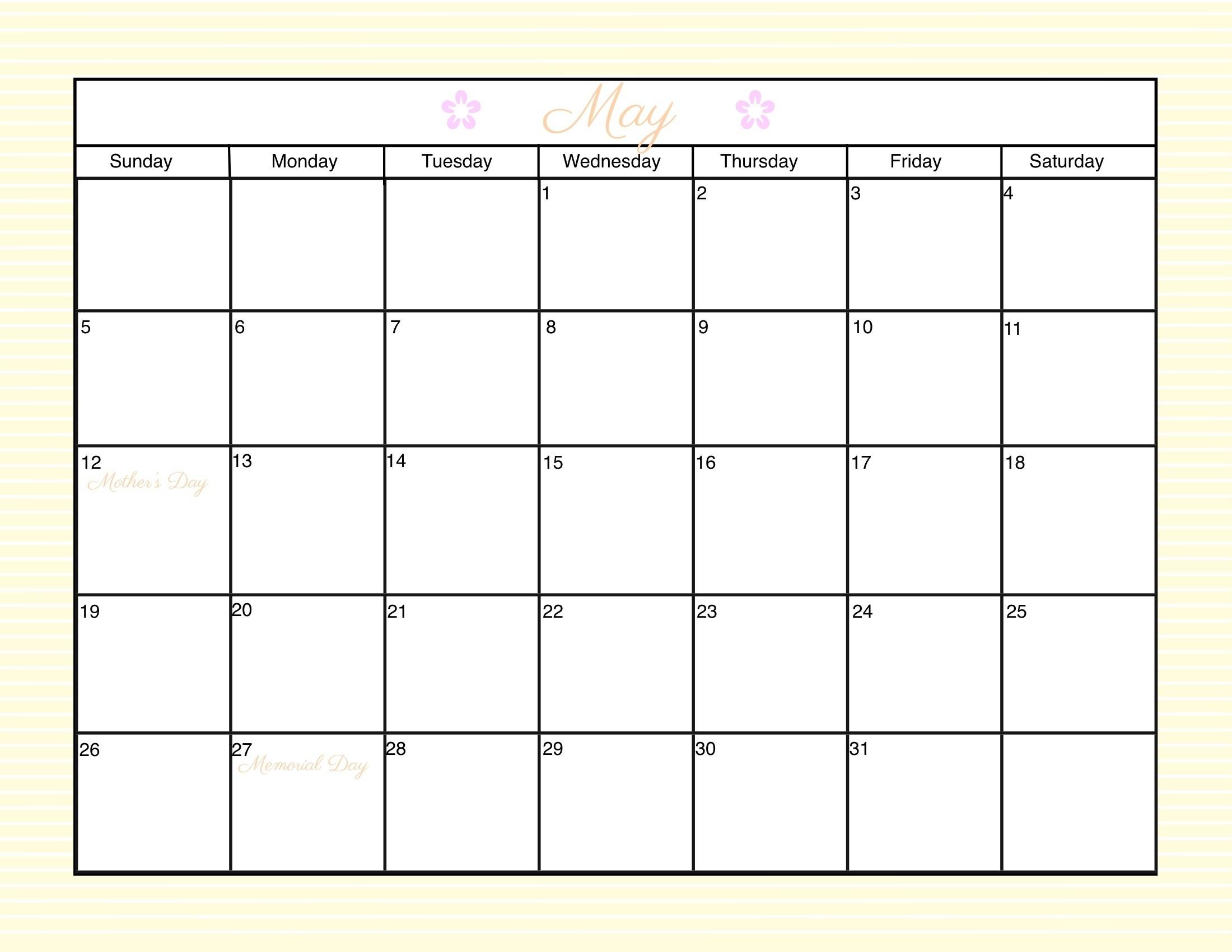 Customizable Printable Calendar 2016 Customizable Monthly