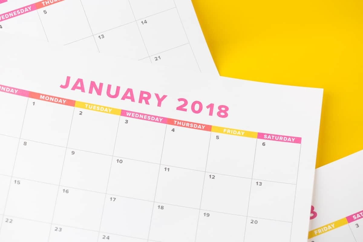 Cute & Colorful Free Printable 2018 Monthly Calendar