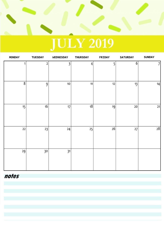 Cute July 2019 Printable Calendar | Printable Monthly