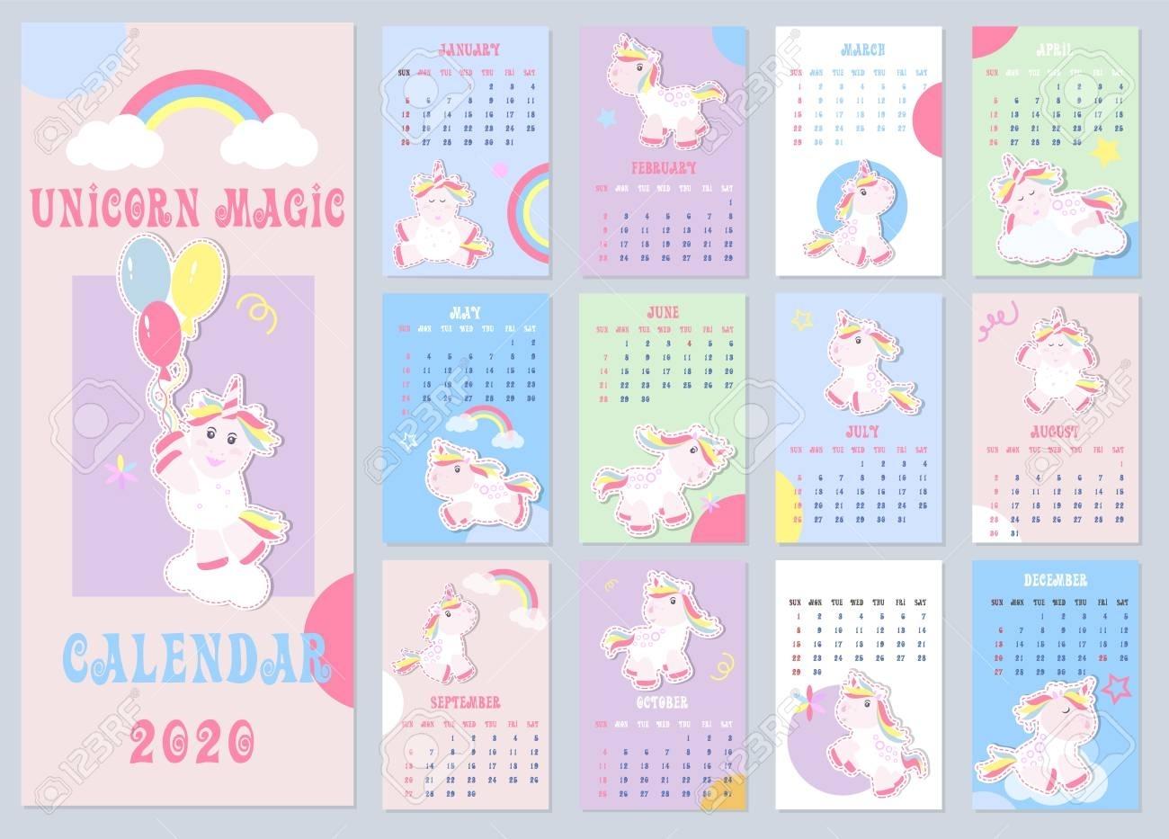 Cute Kids Calendar 2020 With Little Unicorns. Kids Calendar,..
