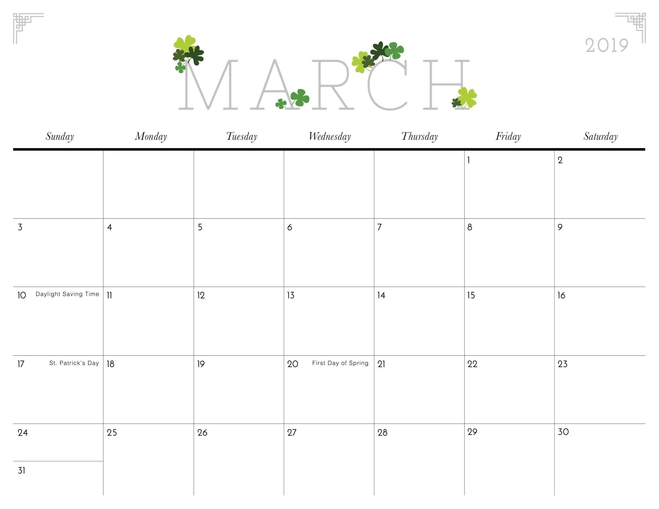 Cute March 2019 Calendar Template | Calander Printable, Kids