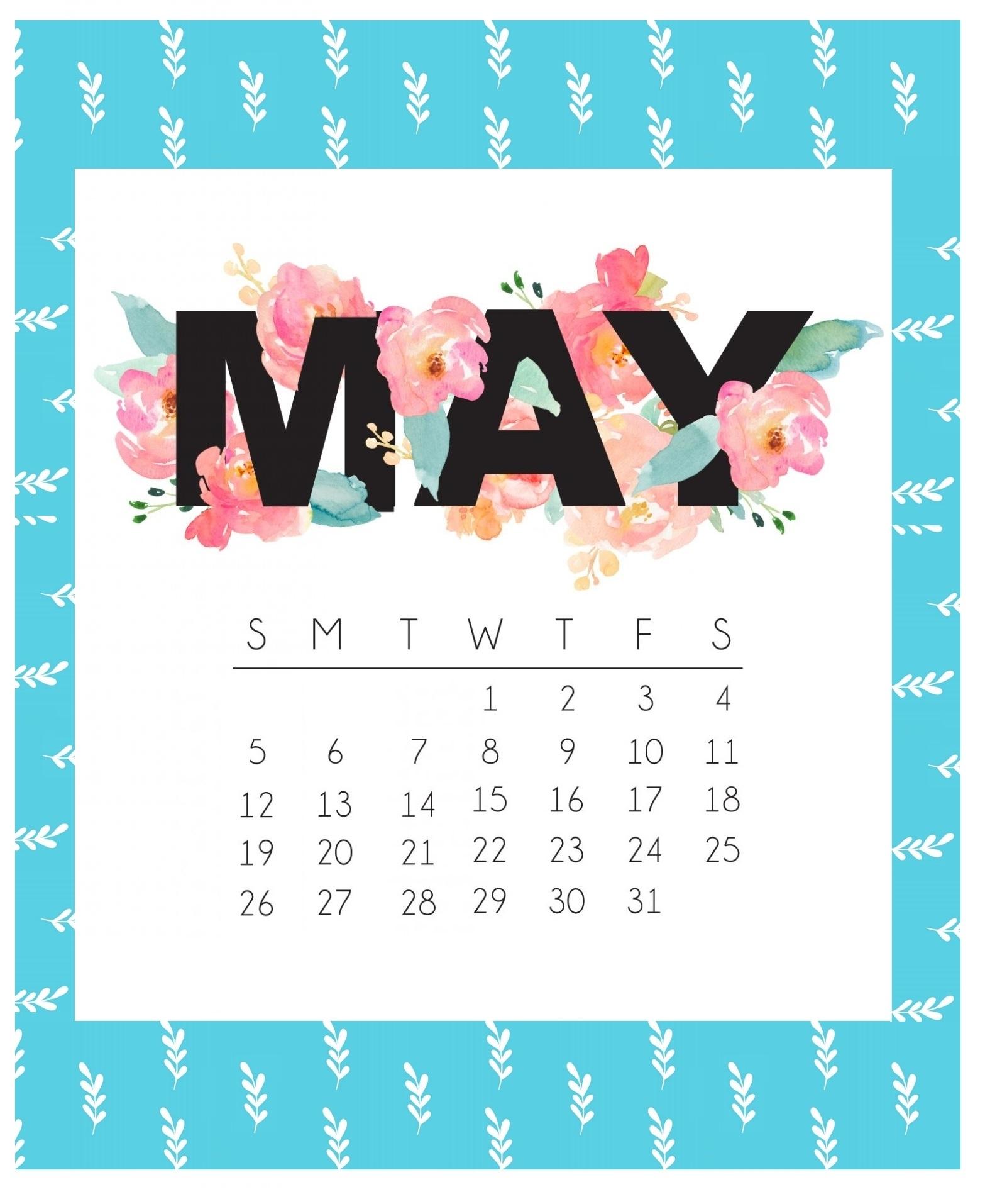 Cute May 2019 Calendar Printable Floral Design