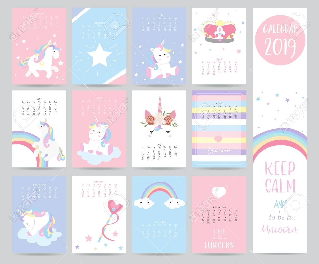 Cute Monthly Calendar 2019 With Sweet Unicorn,crown,heart And..