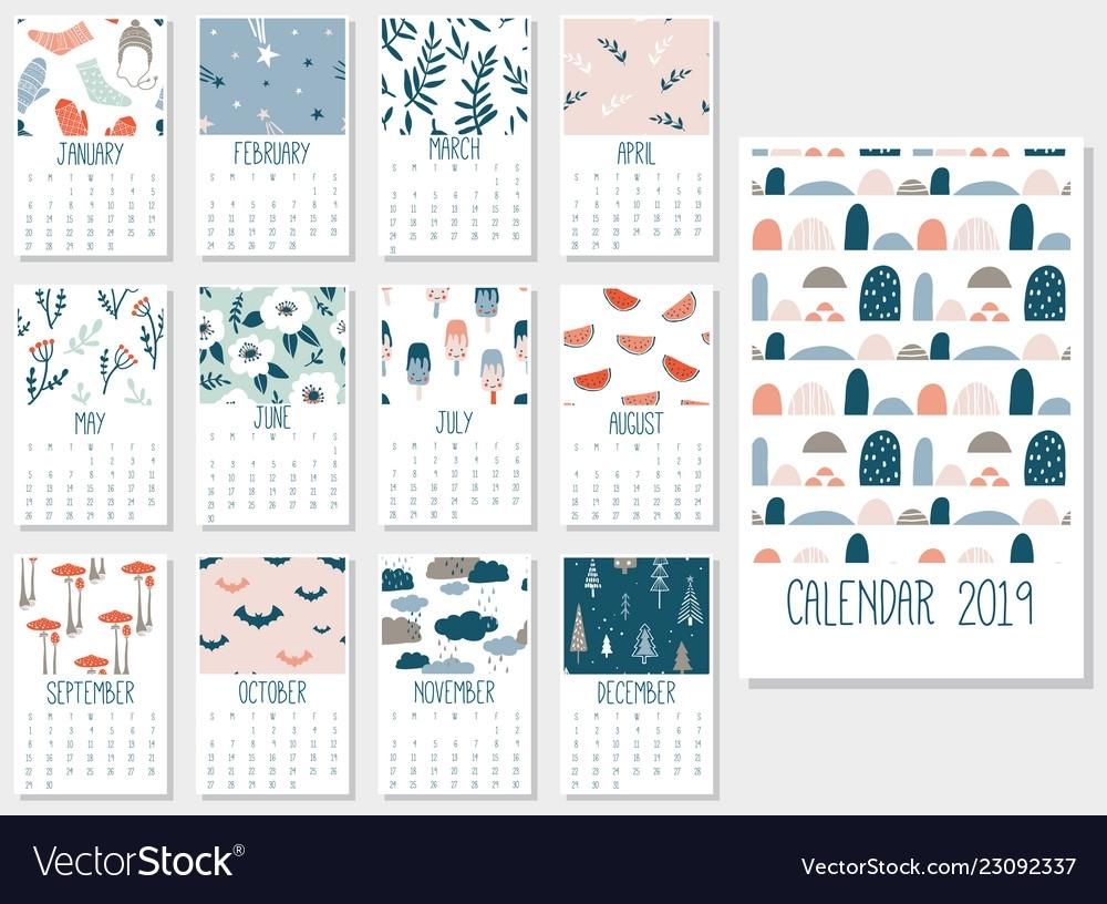 Cute Monthly Calendar 2019