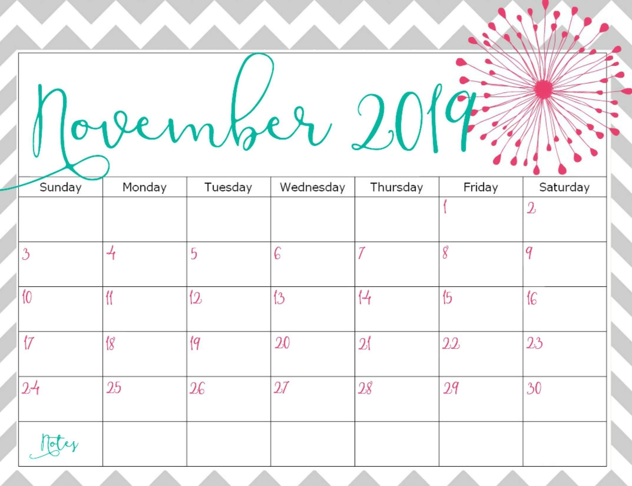 Cute November 2019 Calendar Printable Images - Set Your Plan
