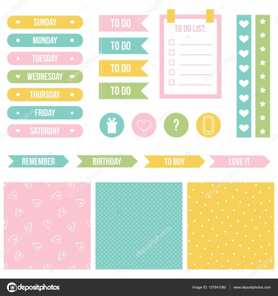 Cute Sticker Design Printable | Set, Collection Of Cute