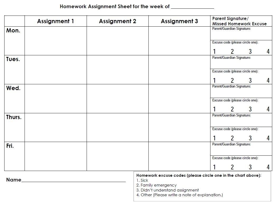 Daily Homework Calendar Template | Sample Customer Service