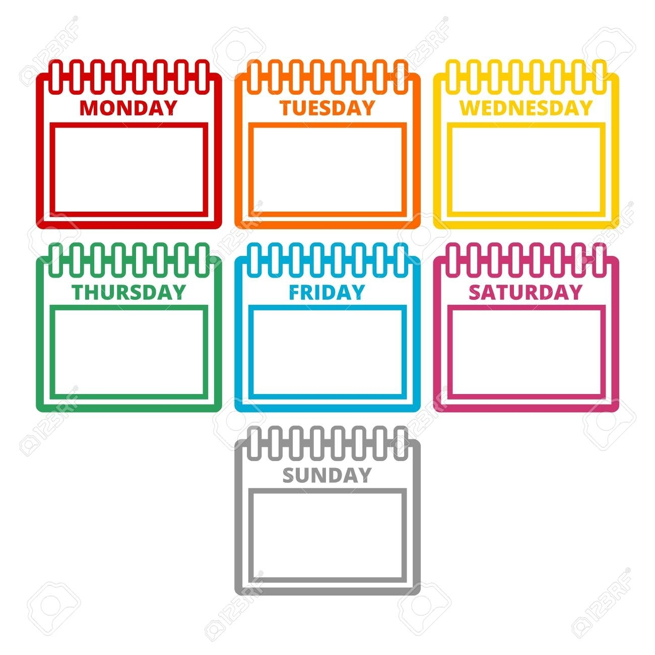 Days Of The Week, Calendar Sheets With The Days Of The Week