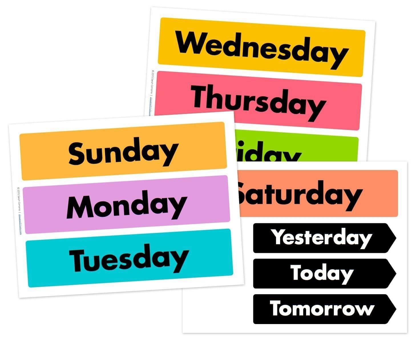 Days Of The Week Printable Free | Preschool Calendar, Free