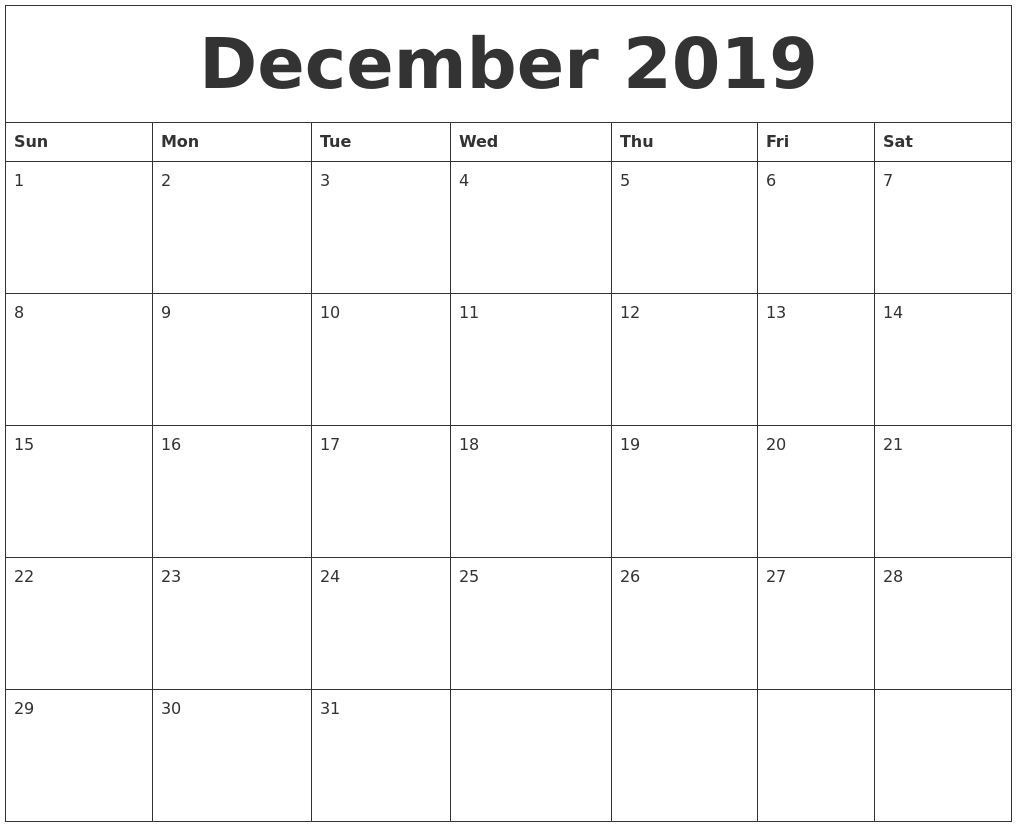 December 2019 Calendar, January 2020 Printable Calendar