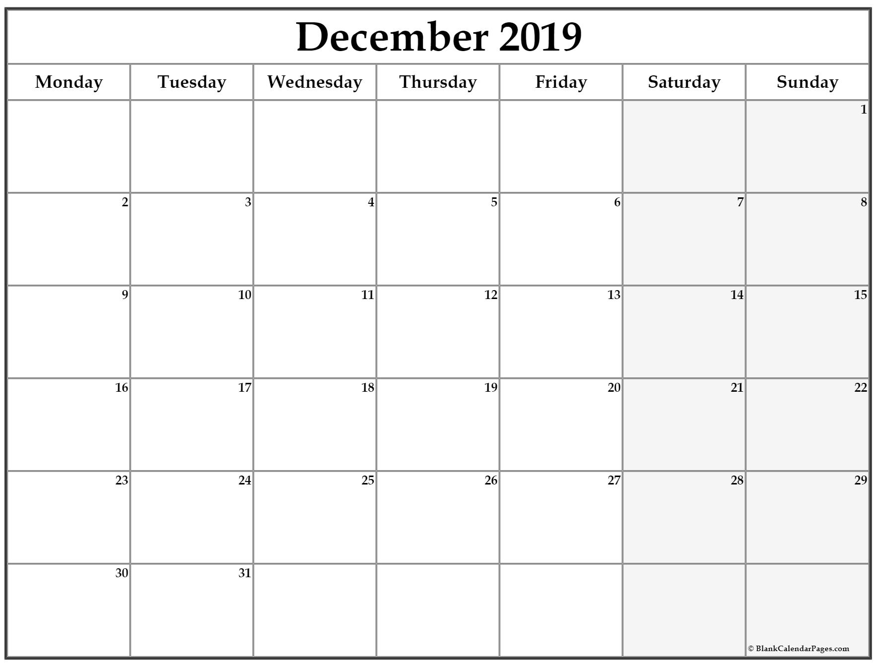 December 2019 Monday Calendar | Monday To Sunday