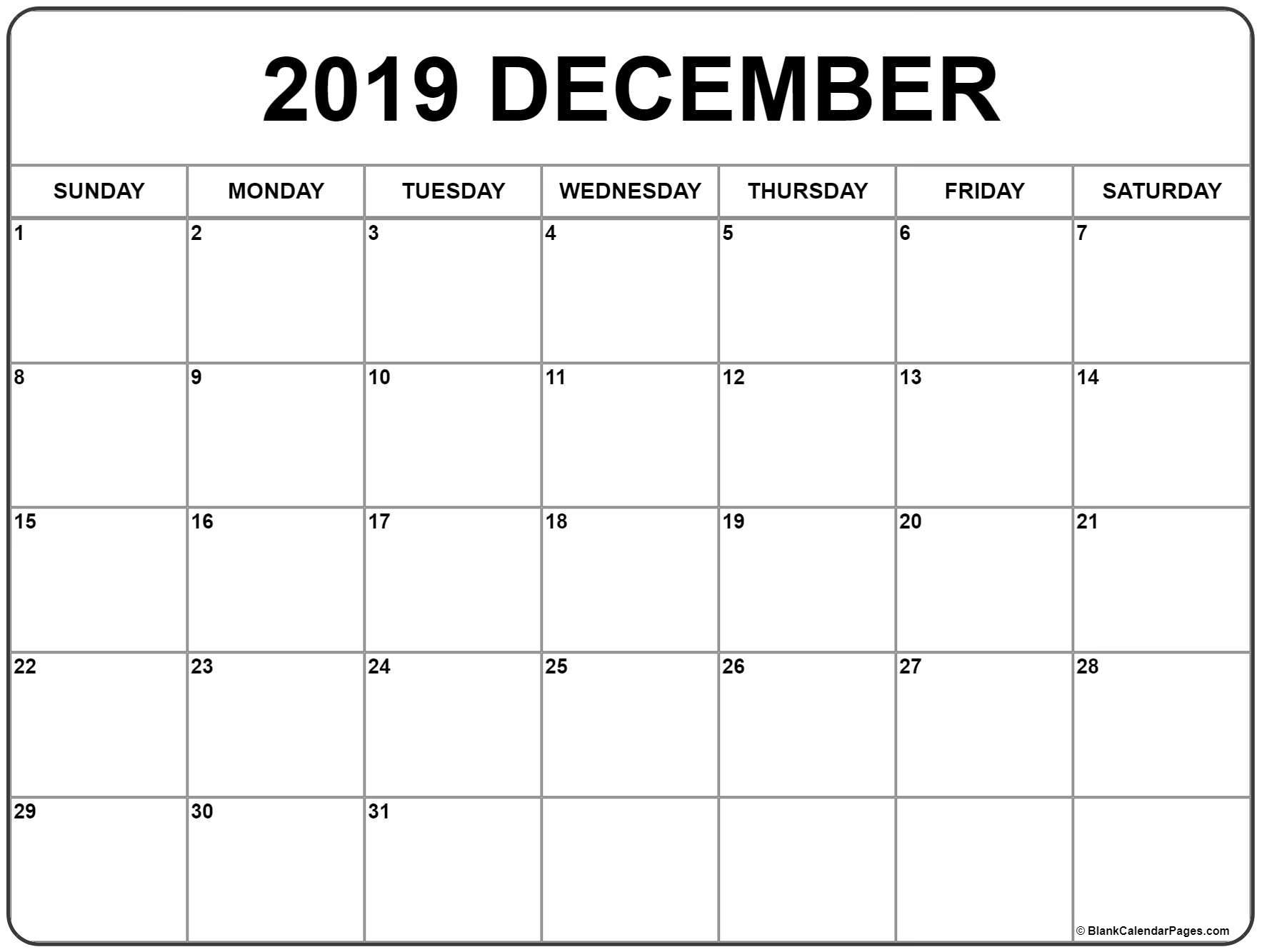 December 2019 Printable Calendar - Free Blank Templates