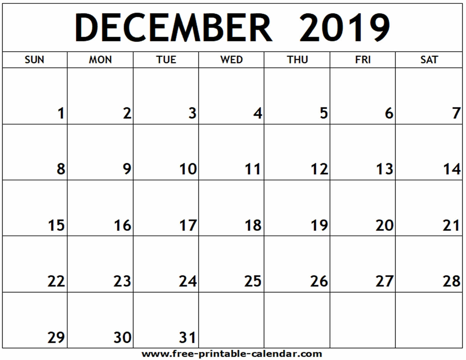 December 2019 Printable Calendar - Free-Printable-Calendar