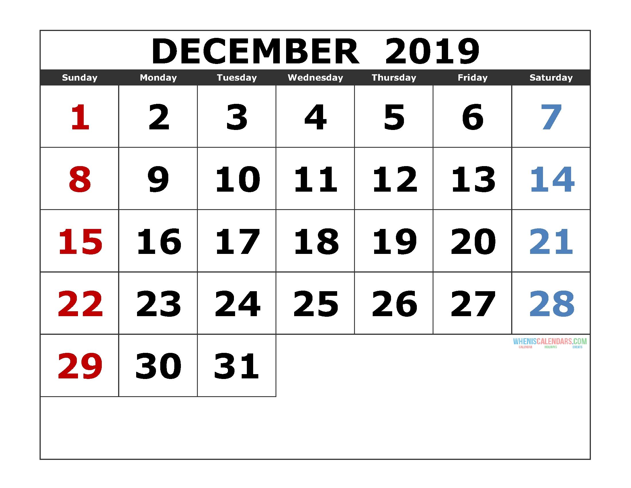 December 2019 Printable Calendar Templates [ 2019 Monthly