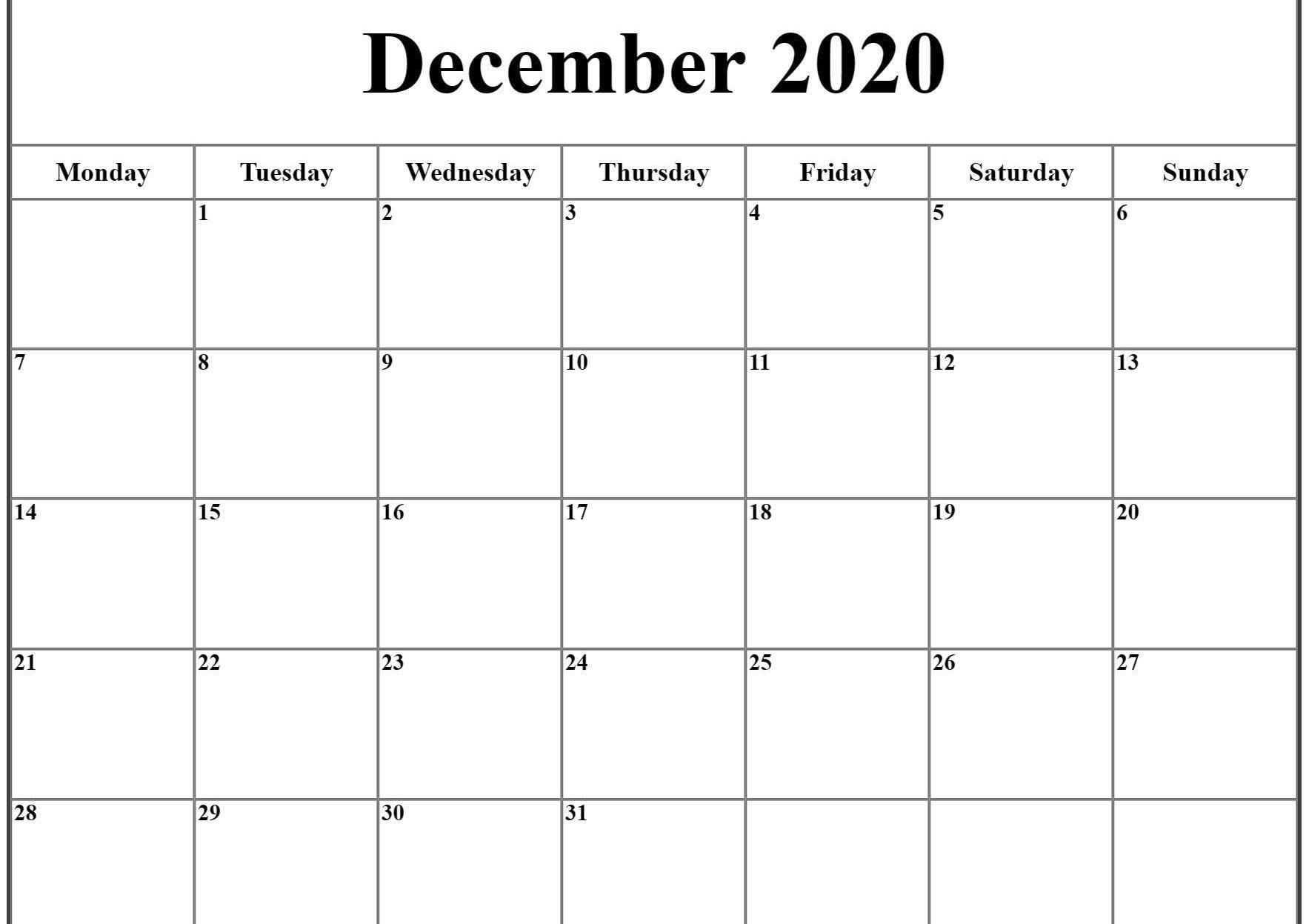 Free Printable Calendar December 2020 Starting Monday ...