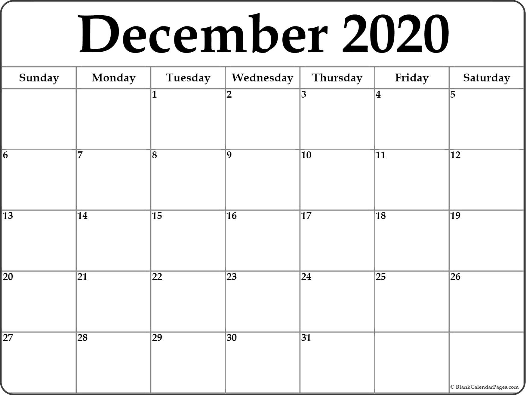 December 2020 Calendar | Free Printable Monthly Calendars