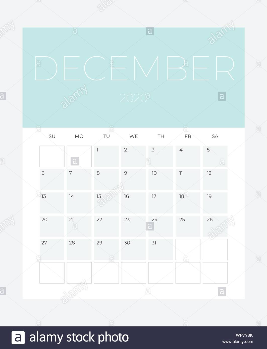 December - 2020 Calendar - Illustration. Template. Mock Up