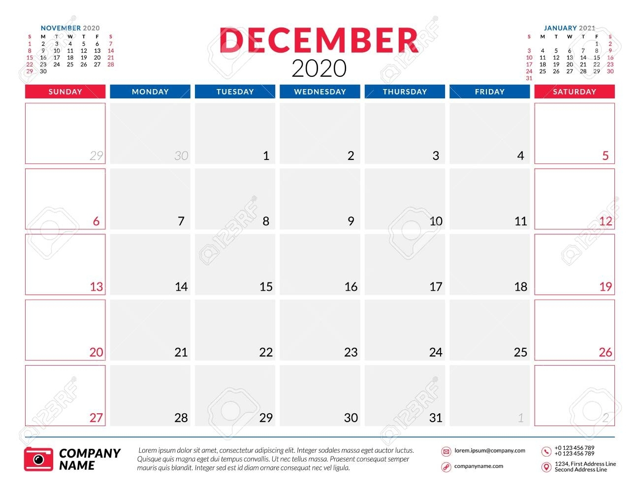 December 2020. Calendar Planner Stationery Design Template. Vector..