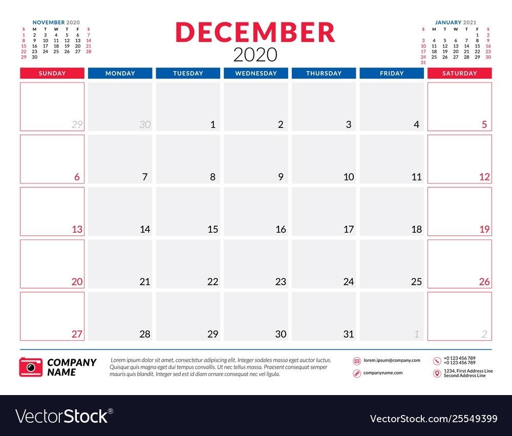 December 2020 Calendar Planner Stationery Design